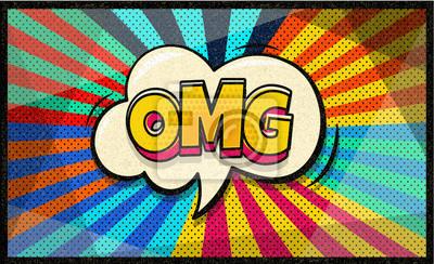 OMG поп-арт облачный пузырь. Sexy Wow пузырь речи. Модный красочный ретро старинные фон в поп-арт ретро комический стиль. Социальный пузырь. Легко редактируется для вашего дизайна.