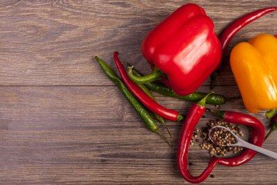 Картина На вид сверху перец чили, сладкий перец и пряным перцем