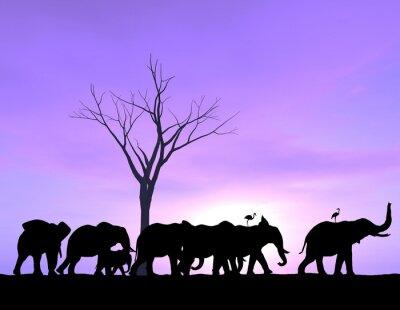 Картина Один слон ведет путь, как другие следуют с фиолетовым заката или восхода солнца.