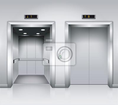 Открытые и закрытые хром металл офисное здание двери лифта реалистичные векторные иллюстрации