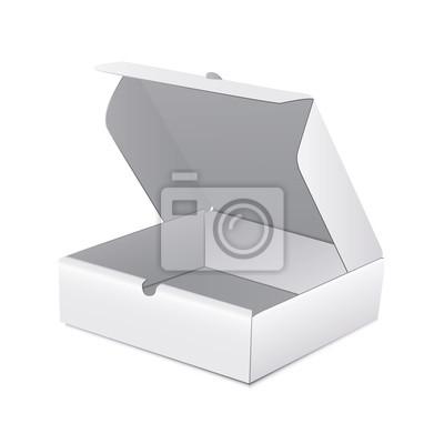 Открытый белый картон Продукт, пакет коробки коробки. Иллюстрации на белом фоне. Макете шаблона готовы для вашего дизайна. Вектор