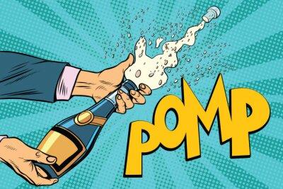 Картина Открытие шампанского бутылки поп-арт