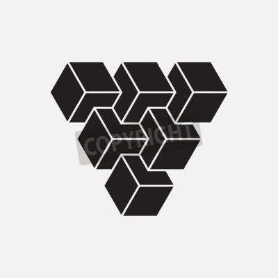 Картина Оптическая иллюзия, кубы, геометрический элемент, векторные иллюстрации