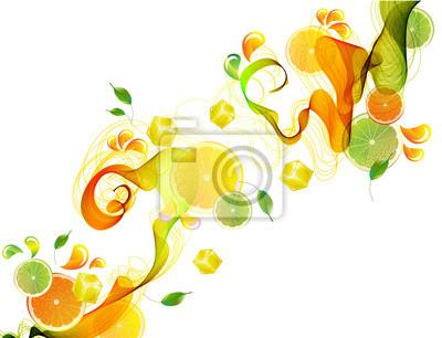 Оранжевый и сок лайма всплеск с абстрактным волны