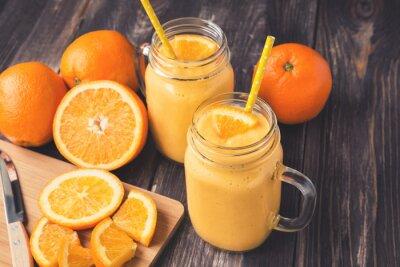 Картина Оранжевый фрукт пюре в стеклянных банках