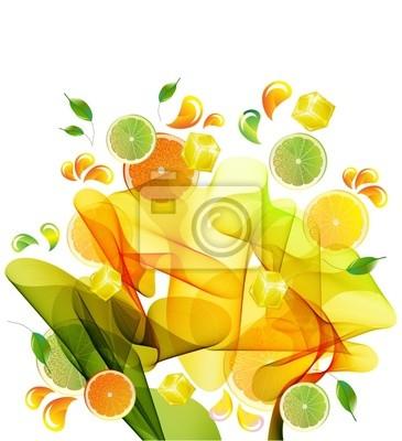 Апельсин, лимон и сок лайма всплеск