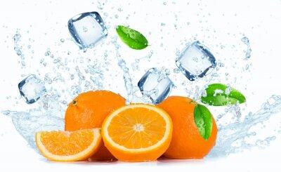 Картина Апельсины с плеск воды,