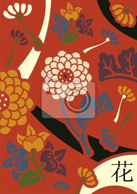 Orient цветы красный фон