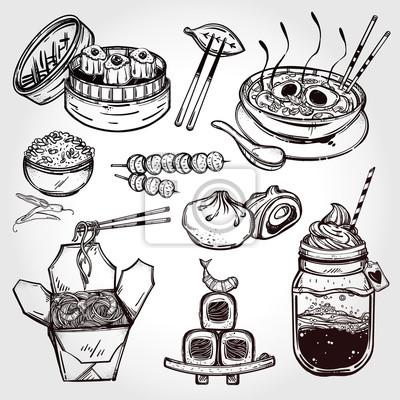 Картина Восточные продукты векторный набор.