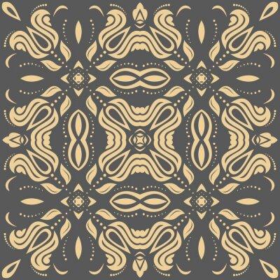 Картина Восточный золотой узор с арабесками и цветочными элементами. Традиционный классический орнамент