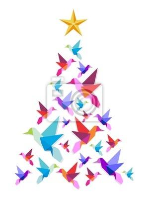 Оригами колибри елку.