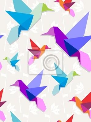 Оригами колибри узором