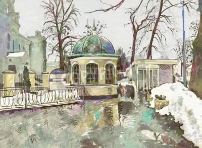 Картина original digital painting of winter cityscape  Modern Impressionism
