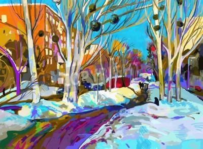 Картина Оригинальный цифровой живописи зимнего городского пейзажа. Современный импрессионизм