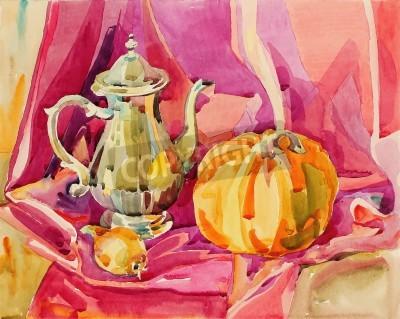 Картина Оригинальный ручной акварель натюрморт с серебряной чайника и тыквы, художественная композиция, векторные иллюстрации