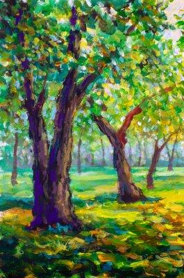 Картина Оригинальная картина маслом, современный стиль. Большие большие деревья дубы в парке лес - солнечный зеленый весенний пейзаж
