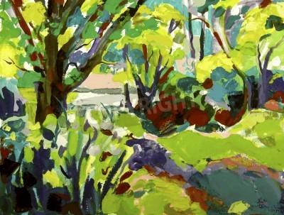 Картина Оригинал масляной живописи пейзаж с деревом