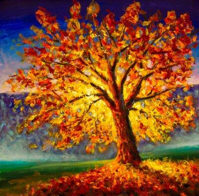 Картина Original oil painting on canvas art. Sunny autumn tree. Modern impressionism. Autumn gold yellow orange red tree in sun light landscape expressionism artwork oil acrylic painting