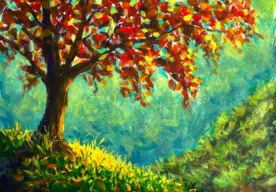 Картина Original oil painting on canvas. Autumn tree on sunny mountain side landscape. Modern art.