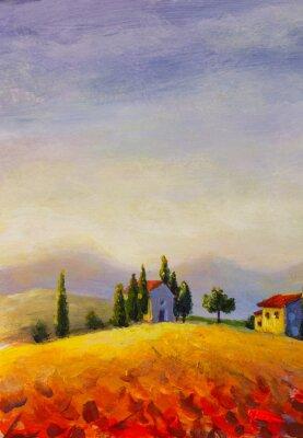 Картина Original oil painting on canvas beautiful sunset in Tuscany artwork; Italy landscape Modern art illustration.