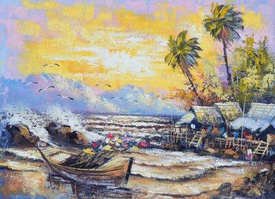 Картина Оригинал картины маслом на холсте - Старый рыболовное судно в порту