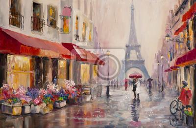 Картина Оригинальная картина маслом на холсте - Париж - Эйфелева башня - Пара влюбленных под зонтиком - Современное искусство