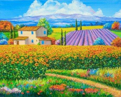Картина Оригинальная картина маслом подсолнечника и лаванды полей