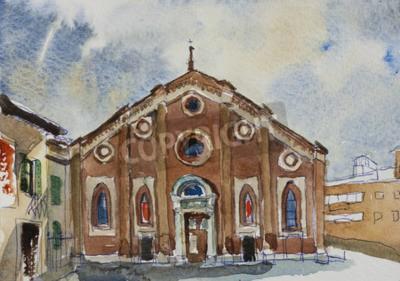 Картина Оригинальный акварельный художественный почтовый фасад Санта-Мария-делле-Грацие в Милане, Италия
