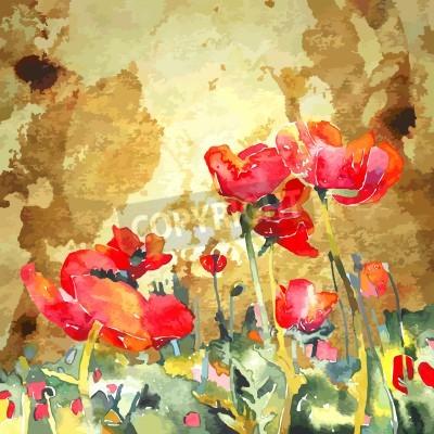 Картина Оригинальный акварель цветок мака в золотом фоне