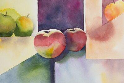Картина Original watercolor, still life, apple design.