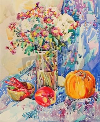 Картина Оригинальный акварель натюрморт с цветами, тыква, яблоко, драпировки и перца, импрессионистической живописи, векторные иллюстрации
