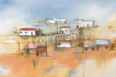 Картина Оригинальная акварель, Африканская деревня.