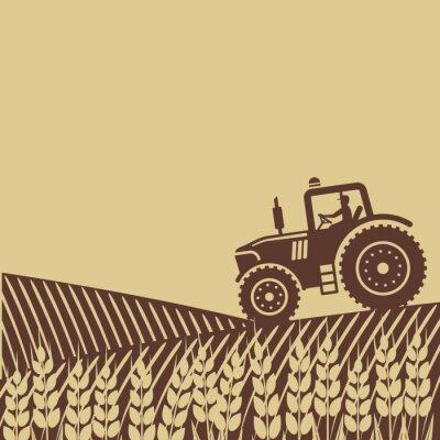 Картина овальной этикетки с ландшафтом. Трактор в поле