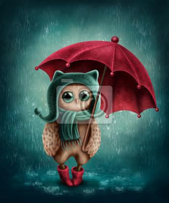 Сова с зонтиком