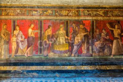 Картина Окрашенные стены в городе Помпеи разрушен в 79BC результате извержения вулкана Везувий