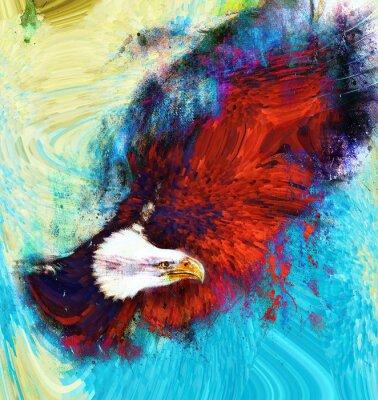 Картина живопись орла на абстрактном фоне, США Символы Свобода