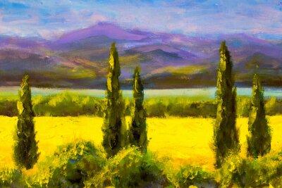Картина Живопись итальянская тоскана кипарисы пейзаж поле горы кусты горизонтально искусство