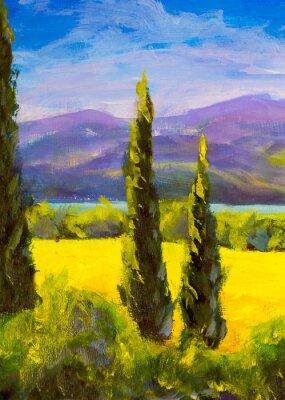 Картина Живопись итальянских тосканских кипарисов пейзаж поля горы кусты вертикально