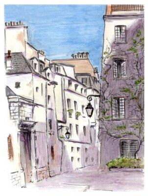 Картина Живопись улице европейского города Парижа