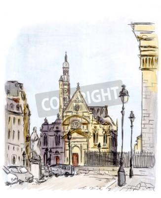 Картина Окраска улице европейского города, Париж, акварель