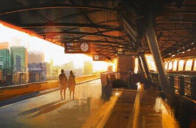Картина живопись, показывая пару ждет поезда на станции