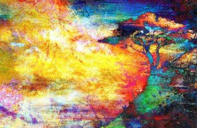 Картина Картина закат, море и дерево, обои пейзаж, цветной коллаж