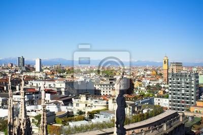 Панорама с Дуомо крышей, Милан, Италия