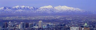 Картина Панорамный закат Солт-Лейк-Сити с снежные горы Wasatch