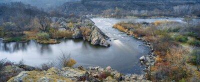 Картина панорамный вид на реку осенью