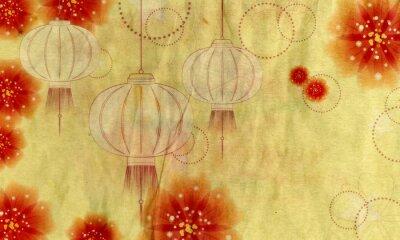 Картина Бумажный фонарь с цветами