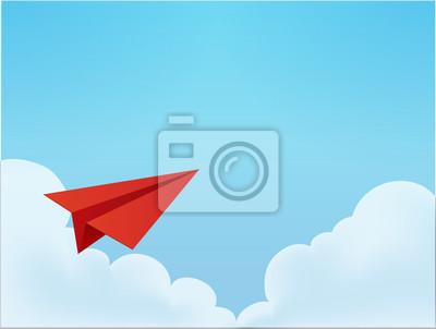 Бумажный самолет в небе векторный файл EPS10