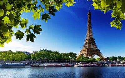 Картина Paris Eiffel Франция речной пляж деревья