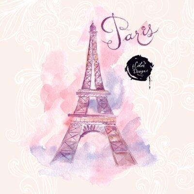 Картина Париж. Вектор акварель иллюстрация