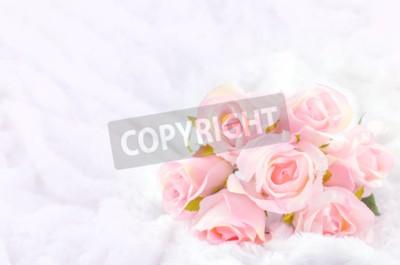 Картина Пастель Цветное Искусственный Розовые розы Свадебный букет невесты на фоне белого меха с мягкой старинные тона